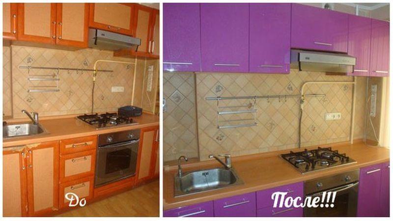 Реставрация кухонной мебели своими руками фото до и после